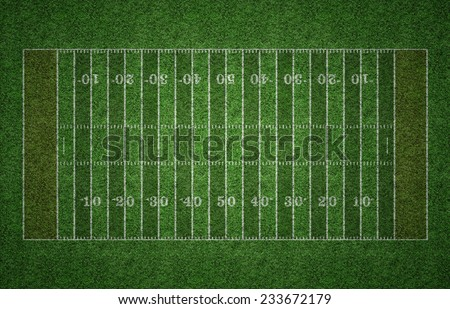 Green grass American football field with white lines marking the pitch.