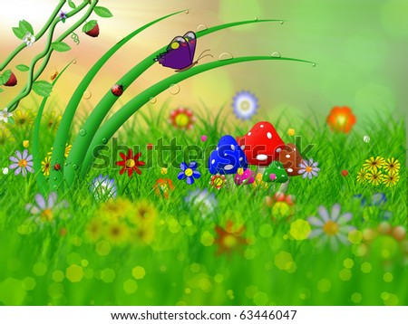 green grass and flowers in the field