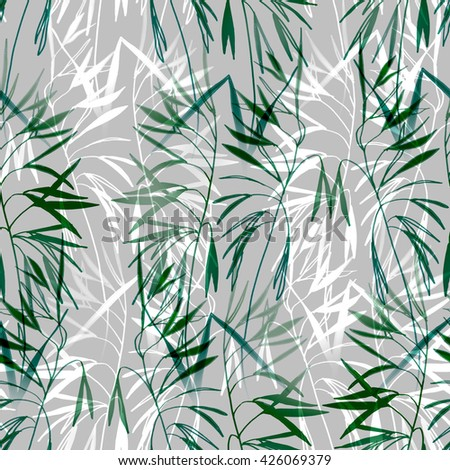 Green grass and leaves seamless pattern background #426069379