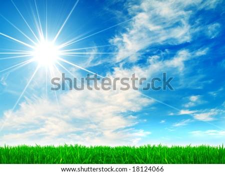 green grass and sun sky