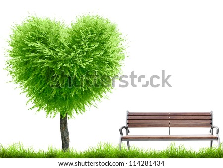 Green grass and tree heart shape and bench on white background with place for text. Valentine day concept