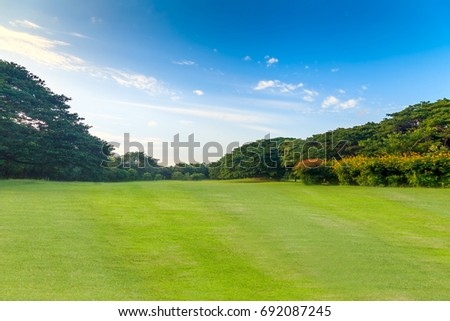 Green grass and trees in beautiful park under the blue sky - Shutterstock ID 692087245