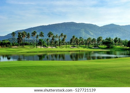 Green grass area in golf courses in bright day. #527721139