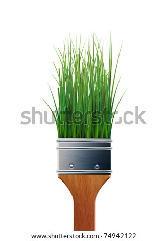 Green grass as bristles in a four inch paintbrush, nontoxic paint concept, illustration.  - Shutterstock ID 74942122