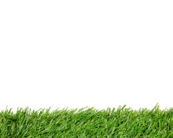 Green grass background with white area for copy space. Artificial turf tile background.
