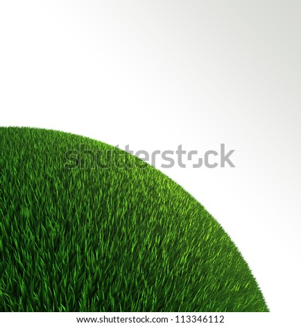 green grass ball background with empty copyspace. clipping path included