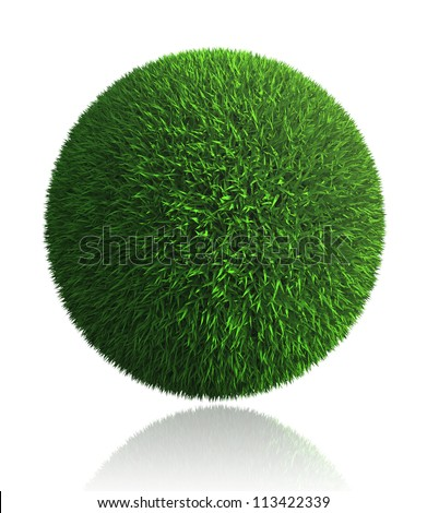 green grass ball on white background. clipping path included