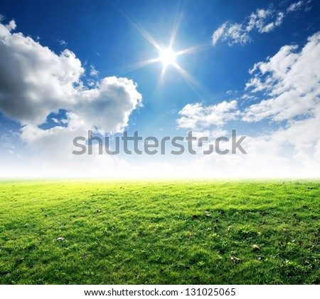 green grass blue sky background nature landscape park outdoor