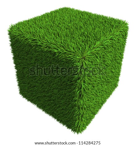 green grass cube isolated on white background. clipping path included