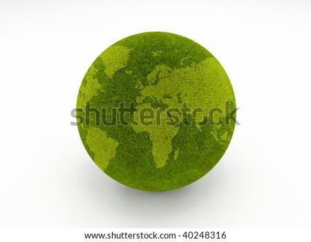 Green grass environmental concept globe