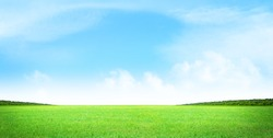 Green grass field and blue sky summer landscape background