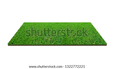 Green grass field isolated on white with clipping path. Artificial lawn grass carpet for sport background. Background for landscape, park and outdoor. #1322772221