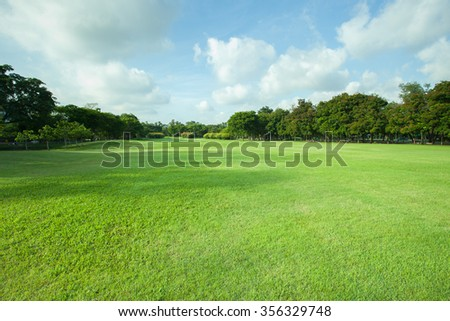 green grass field of public park