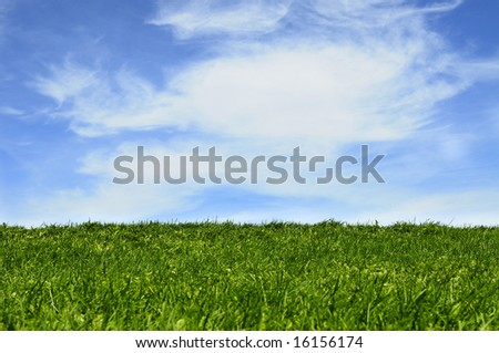 Green grass field under blue sky with clouds background