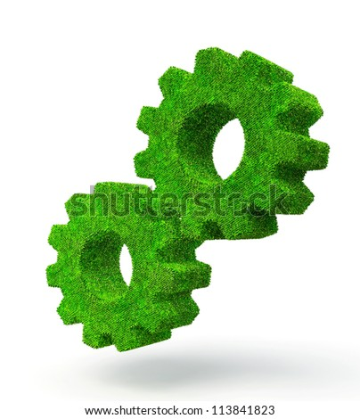 green grass gears isolated on a white background