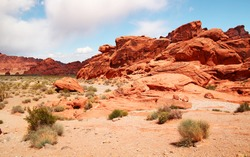 Green grass in foreground and red rocks at Valley of fire, Nevada
