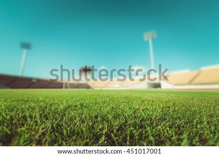 green grass in soccer stadium.