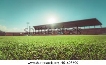 green grass in soccer stadium....