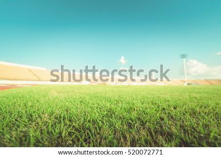 green grass in soccer stadium   ...
