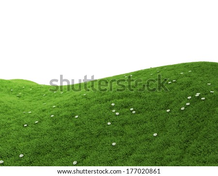 green grass landscape and white background image - Royalty free images