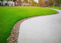 Green grass lawn and gray curve pattern walkway, sand washed finishing on concrete paving with brown gravel border, trees with supporting and shrub in a good care maintenance landscape and garden