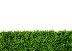Green grass mat with white area for copy space. Artificial turf tile background.