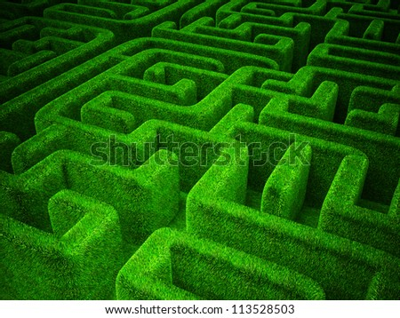 green grass  maze background. horizontal 3d  image - stock photo