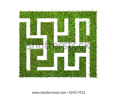 green grass maze, on green background. isolated on white and clipping path is included.