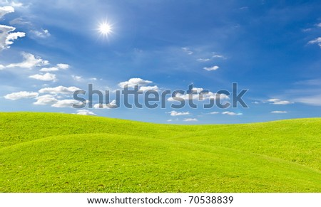 green grass meadow and bright sun in blue sky