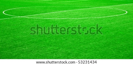 Green grass of the football (soccer) field - stock photo