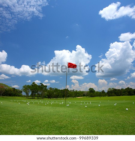 Green grass on a golf course in Chanthaburi, Thailand - stock photo
