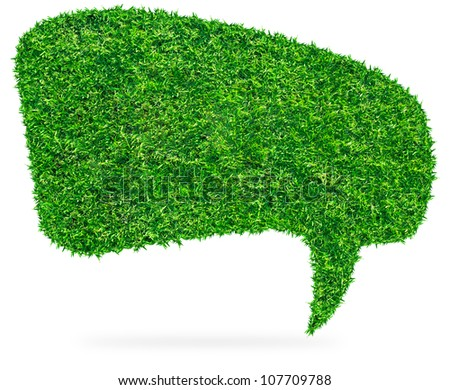 Green grass Speech Bubble, isolated on white background (Save Paths For design work)