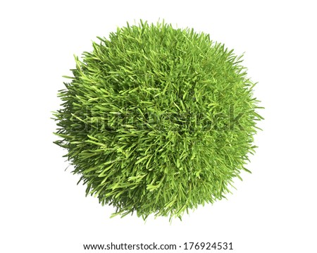 Green grass spheres isolated on white background