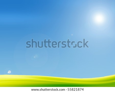Green grass, the blue sky and light sun. Nature illustration