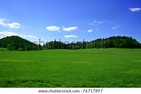 green grass, trees and blue sky - Shutterstock ID 76717897