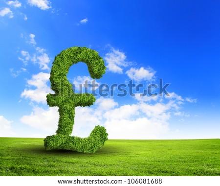 Green grass  UK pound symbol against blue sky