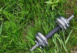 green grass with a dumbbell