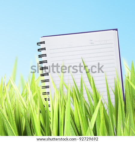 Green grass with a notepad, square composition