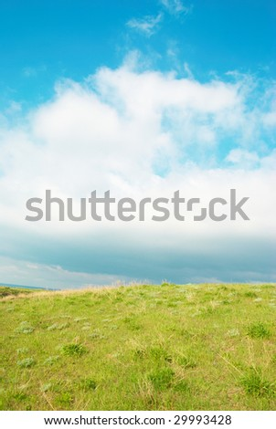 Green grass with blue sky and clouds.
