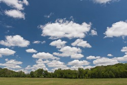 Green grassy field landscape with trees on the horizon under a partially cloudy blue sky with puffy white cumulus clouds during the daytime on a sunny summer day outside