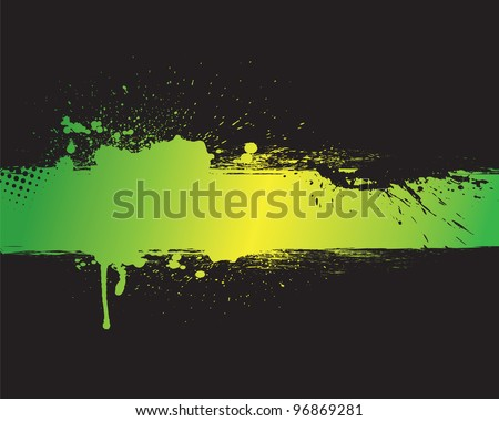 Green grunge banner with black background