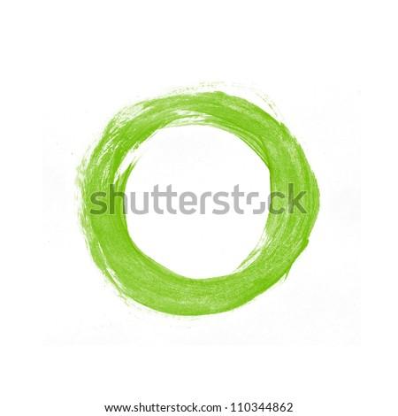 Green hand painted circle