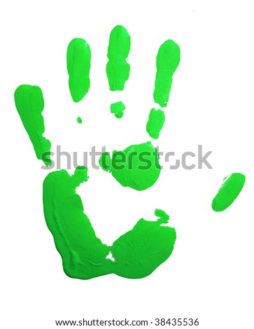 Green hand-print on white.