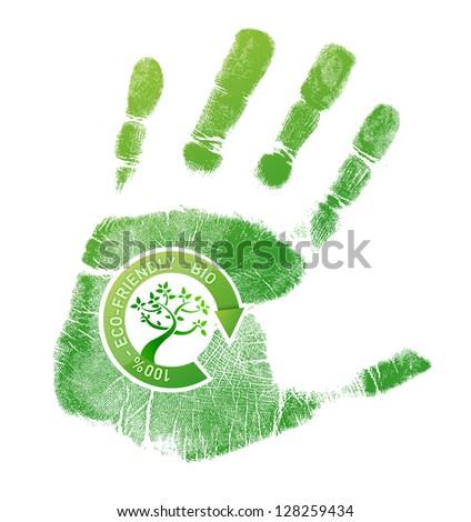 Green handprint eco, bio illustration design over a white background