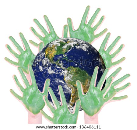 green hands around a globe, isolated on white: parts of this image furnished by NASA