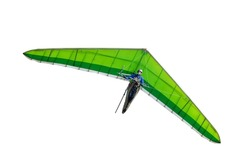 Green hang glider wing isolated on white