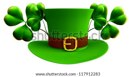 green hat and shamrocks as a symbol of wealth