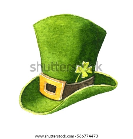 Green hat Patrick. Watercolor illustration on white