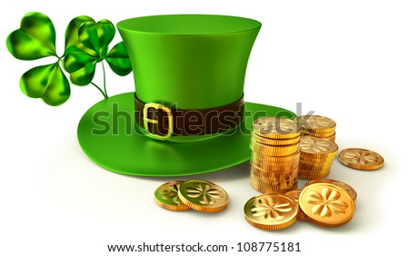 green hat, shamrocks and set of gold coins as a symbols of St. Patrick's Day