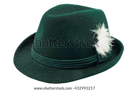f445d312a8d green hat with a feather on a white background  432993217